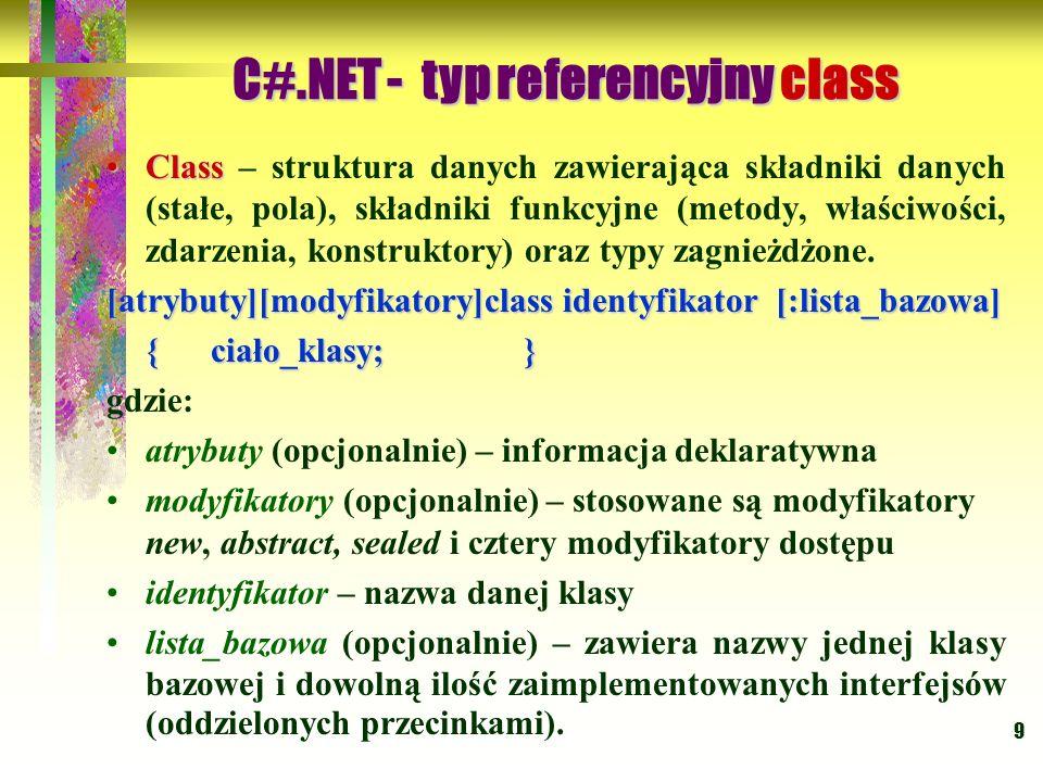C#.NET - typ referencyjny class
