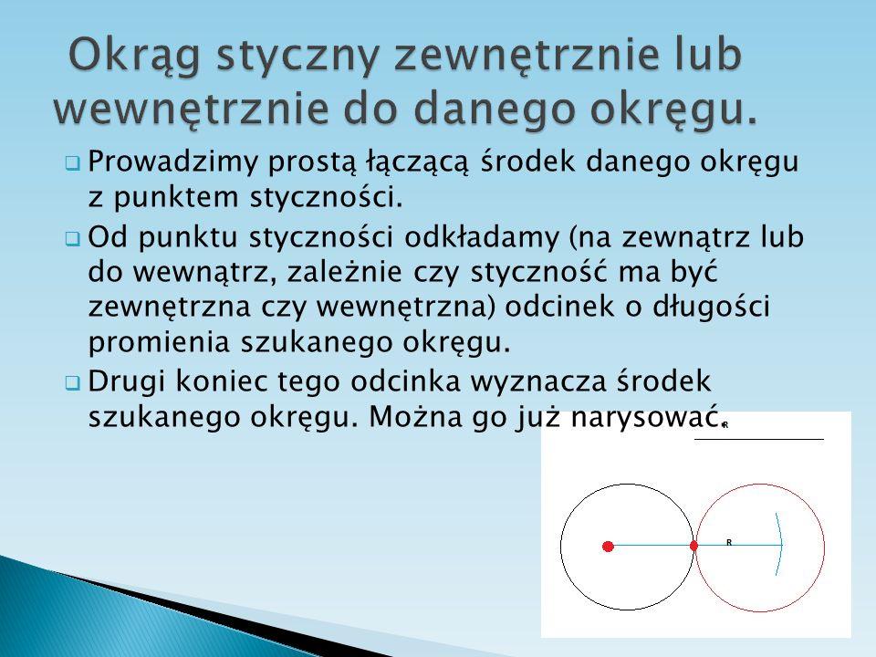 Okrąg styczny zewnętrznie lub wewnętrznie do danego okręgu.