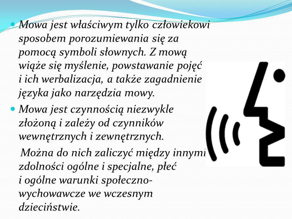 Mowa jest właściwym tylko człowiekowi sposobem porozumiewania się za pomocą symboli słownych. Z mową wiąże się myślenie, powstawanie pojęć i ich werbalizacja, a także zagadnienie języka jako narzędzia mowy.