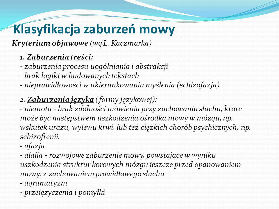 Klasyfikacja zaburzeń mowy
