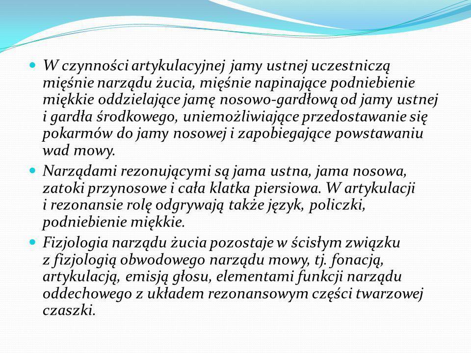 W czynności artykulacyjnej jamy ustnej uczestniczą mięśnie narządu żucia, mięśnie napinające podniebienie miękkie oddzielające jamę nosowo-gardłową od jamy ustnej i gardła środkowego, uniemożliwiające przedostawanie się pokarmów do jamy nosowej i zapobiegające powstawaniu wad mowy.