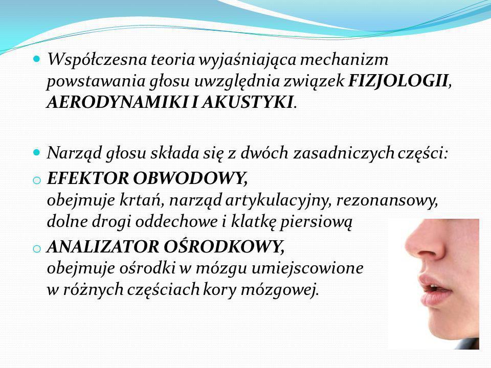 Współczesna teoria wyjaśniająca mechanizm powstawania głosu uwzględnia związek FIZJOLOGII, AERODYNAMIKI I AKUSTYKI.