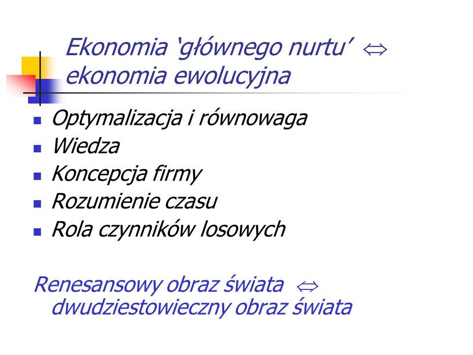 Ekonomia 'głównego nurtu'  ekonomia ewolucyjna