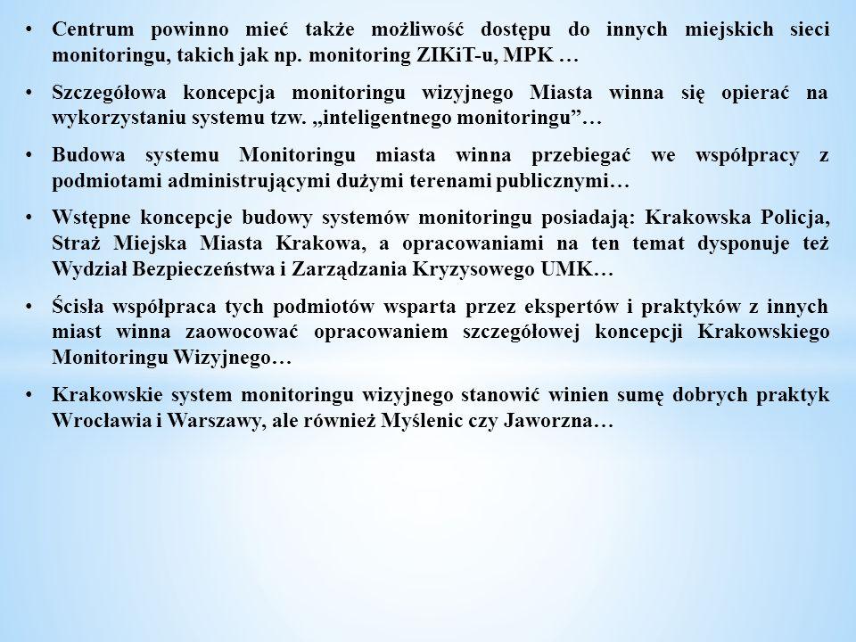 Centrum powinno mieć także możliwość dostępu do innych miejskich sieci monitoringu, takich jak np. monitoring ZIKiT-u, MPK …