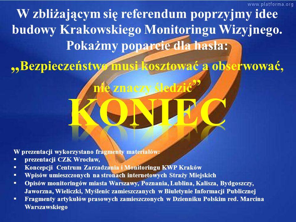 W zbliżającym się referendum poprzyjmy idee budowy Krakowskiego Monitoringu Wizyjnego.