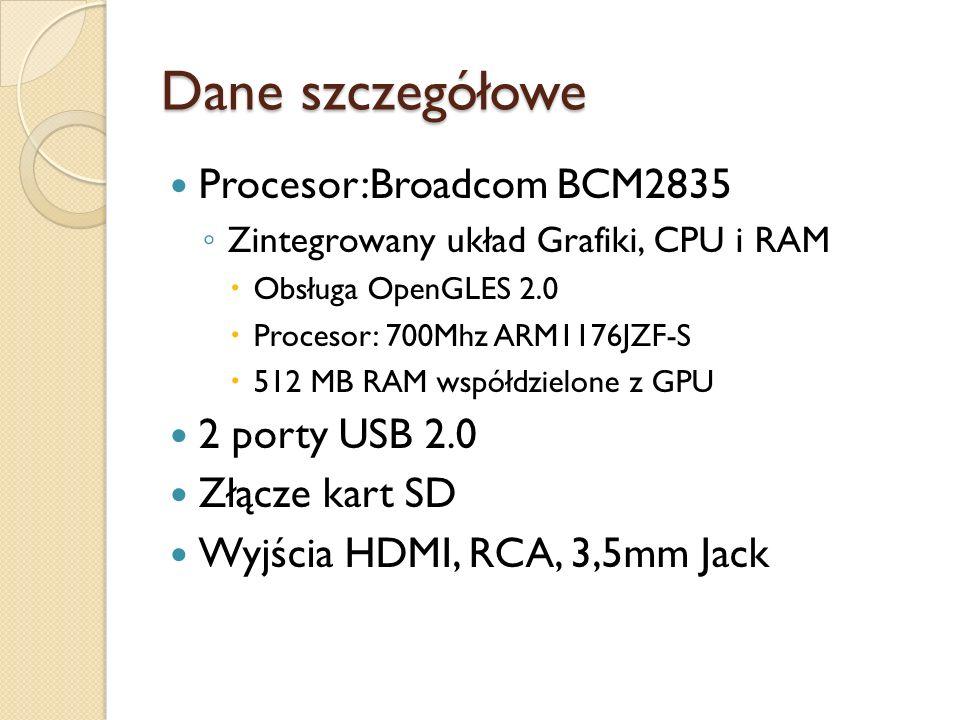 Dane szczegółowe Procesor:Broadcom BCM2835 2 porty USB 2.0