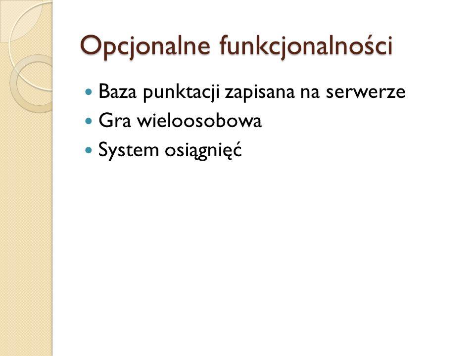Opcjonalne funkcjonalności