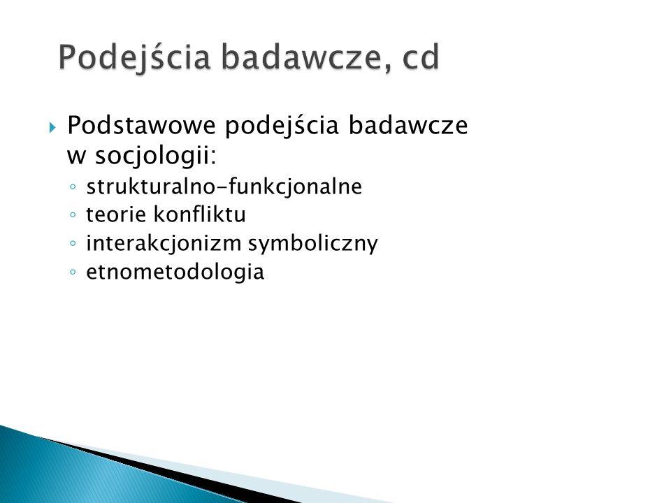 Podejścia badawcze, cd Podstawowe podejścia badawcze w socjologii:
