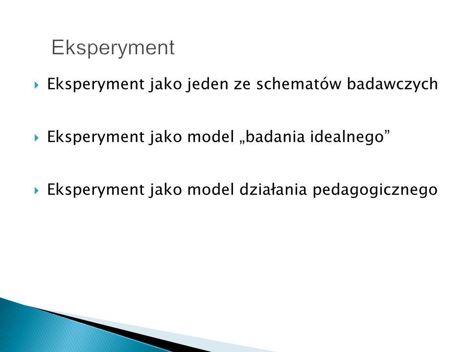Eksperyment Eksperyment jako jeden ze schematów badawczych