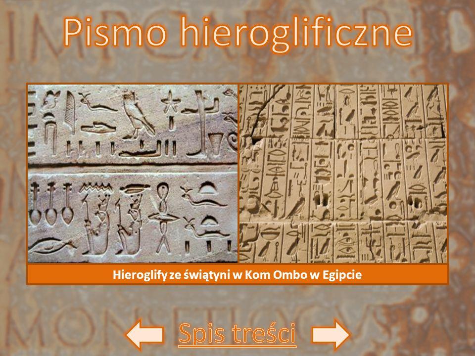 Hieroglify ze świątyni w Kom Ombo w Egipcie