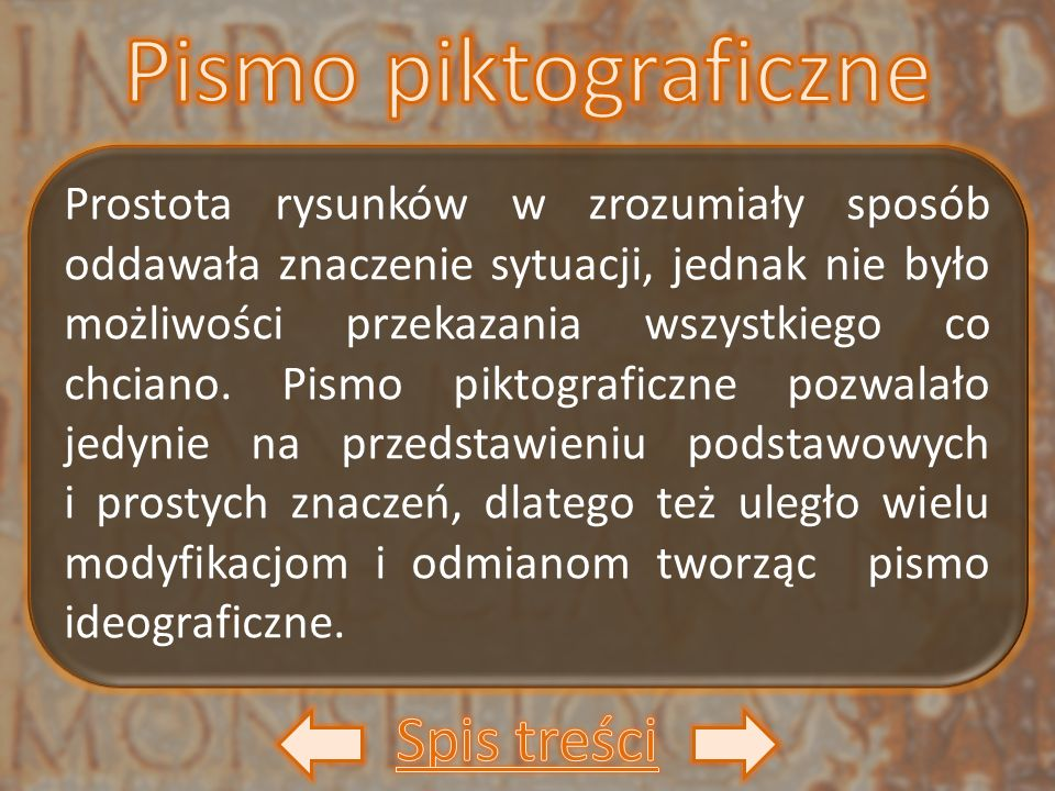 Pismo piktograficzne Spis treści