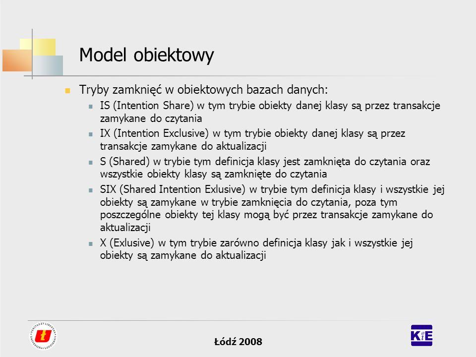 Model obiektowy Tryby zamknięć w obiektowych bazach danych:
