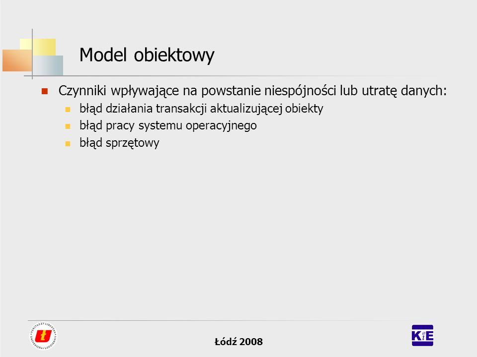 Model obiektowy Czynniki wpływające na powstanie niespójności lub utratę danych: błąd działania transakcji aktualizującej obiekty.