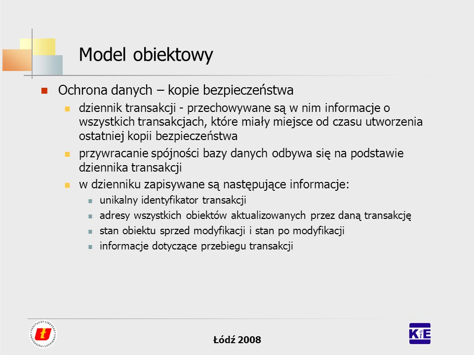 Model obiektowy Ochrona danych – kopie bezpieczeństwa