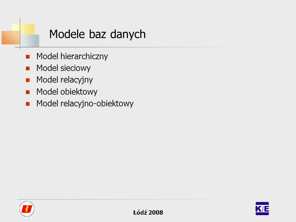 Modele baz danych Model hierarchiczny Model sieciowy Model relacyjny