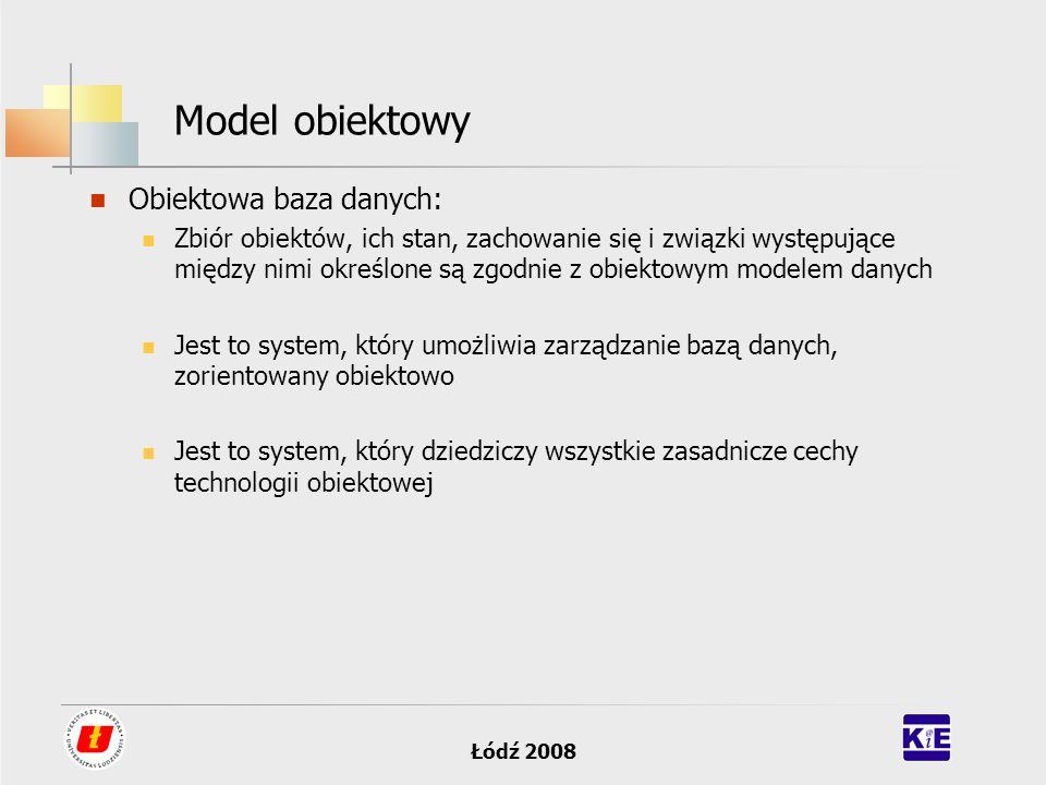 Model obiektowy Obiektowa baza danych: