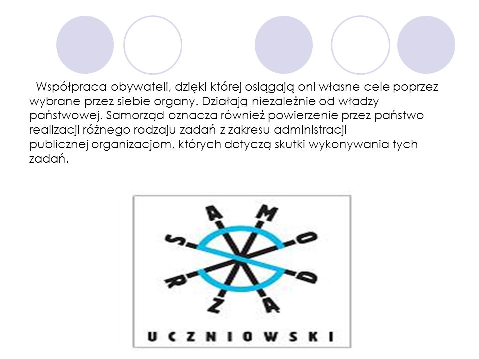 Współpraca obywateli, dzięki której osiągają oni własne cele poprzez wybrane przez siebie organy.