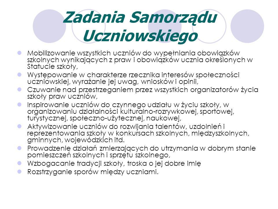 Zadania Samorządu Uczniowskiego