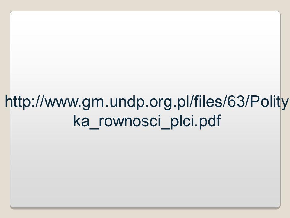 http://www.gm.undp.org.pl/files/63/Polity ka_rownosci_plci.pdf