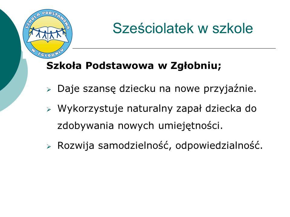 Sześciolatek w szkole Szkoła Podstawowa w Zgłobniu;