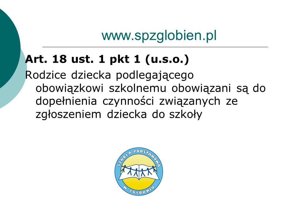 www.spzglobien.pl Art. 18 ust. 1 pkt 1 (u.s.o.)
