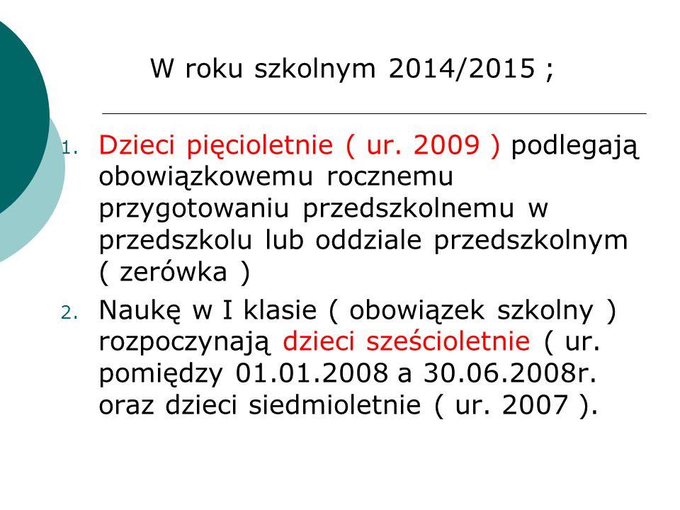 W roku szkolnym 2014/2015 ;