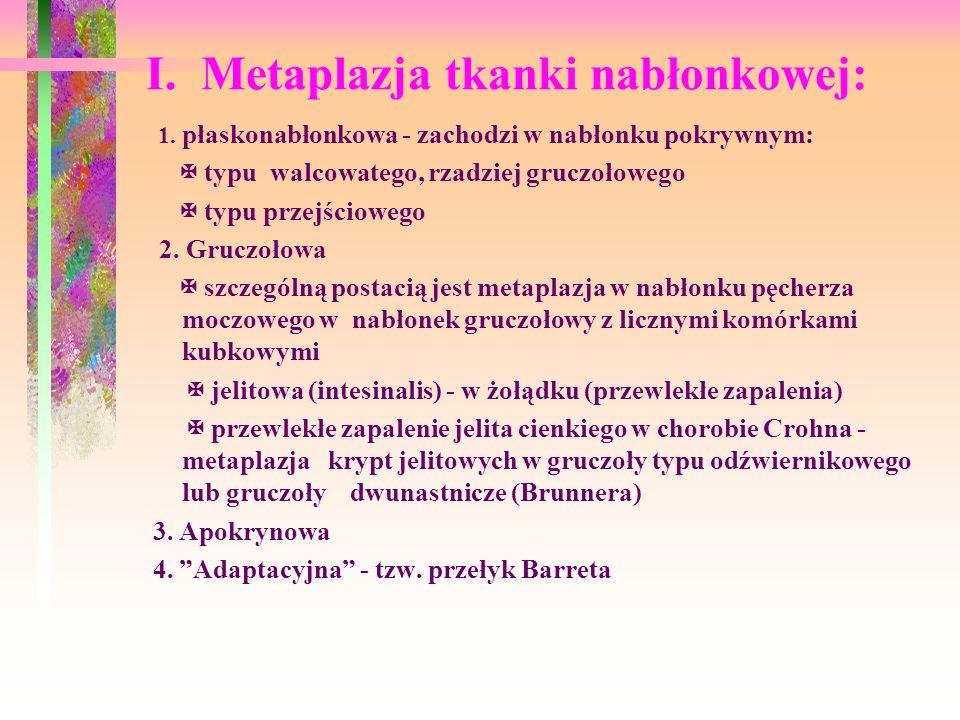 I. Metaplazja tkanki nabłonkowej: