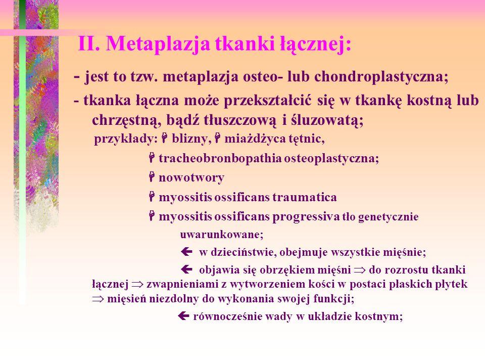 II. Metaplazja tkanki łącznej: