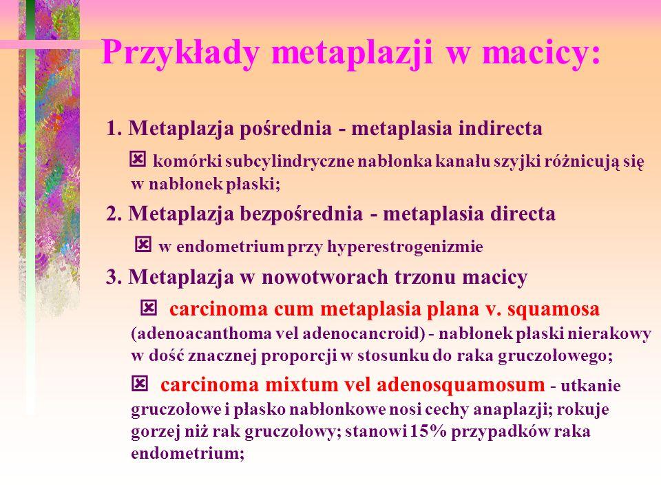 Przykłady metaplazji w macicy: