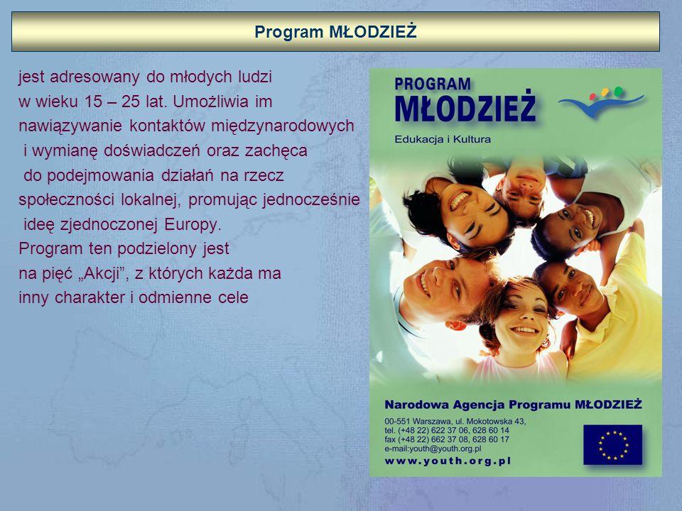 Program MŁODZIEŻ jest adresowany do młodych ludzi. w wieku 15 – 25 lat. Umożliwia im. nawiązywanie kontaktów międzynarodowych.