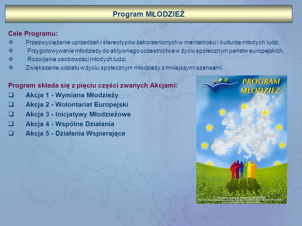 Program MŁODZIEŻ Cele Programu: