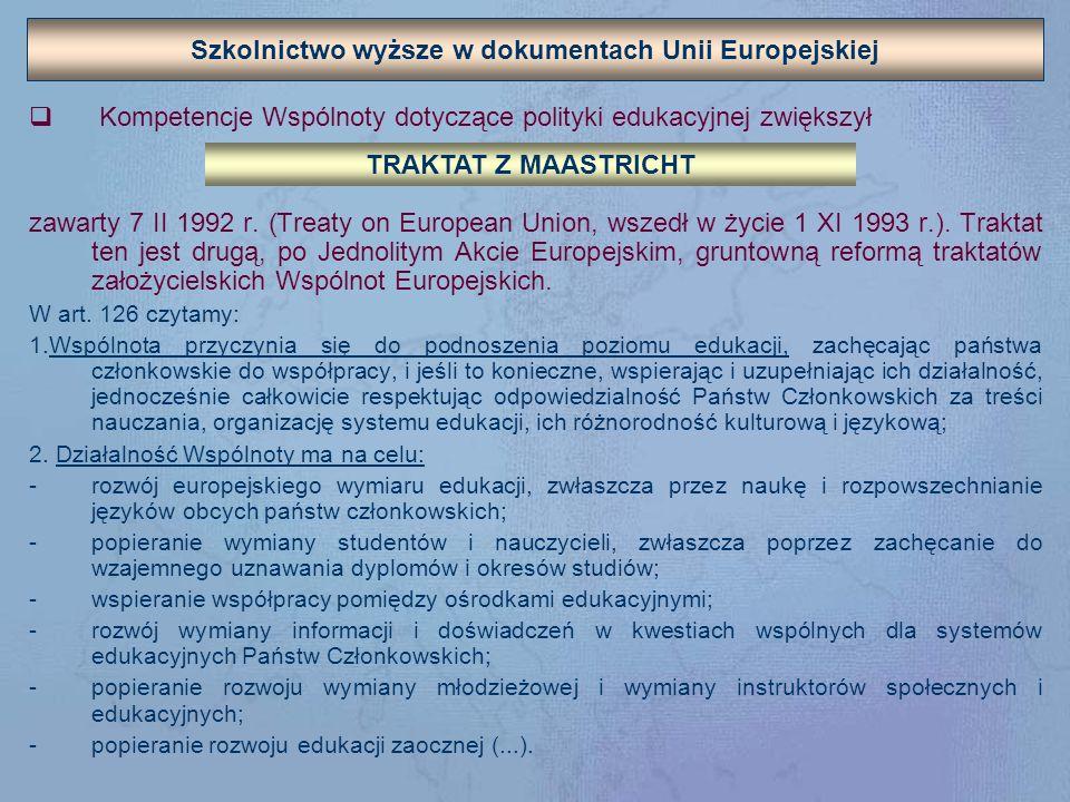 Szkolnictwo wyższe w dokumentach Unii Europejskiej