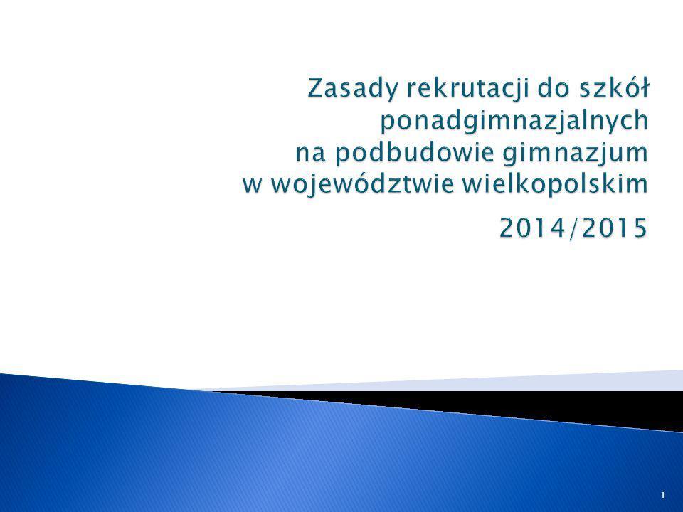 Zasady rekrutacji do szkół ponadgimnazjalnych na podbudowie gimnazjum w województwie wielkopolskim 2014/2015
