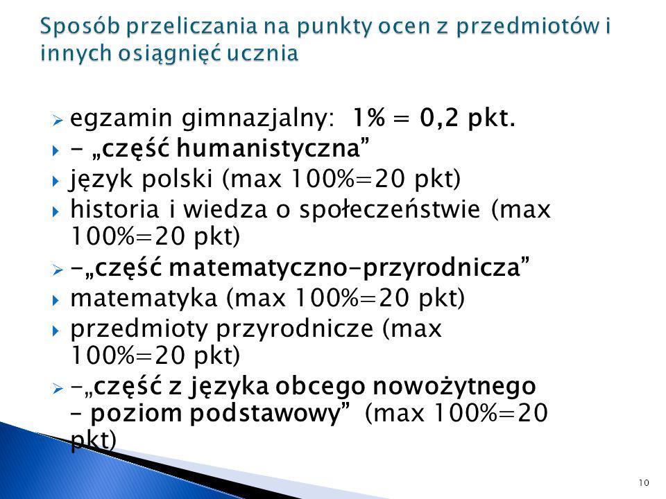 """egzamin gimnazjalny: 1% = 0,2 pkt. - """"część humanistyczna"""