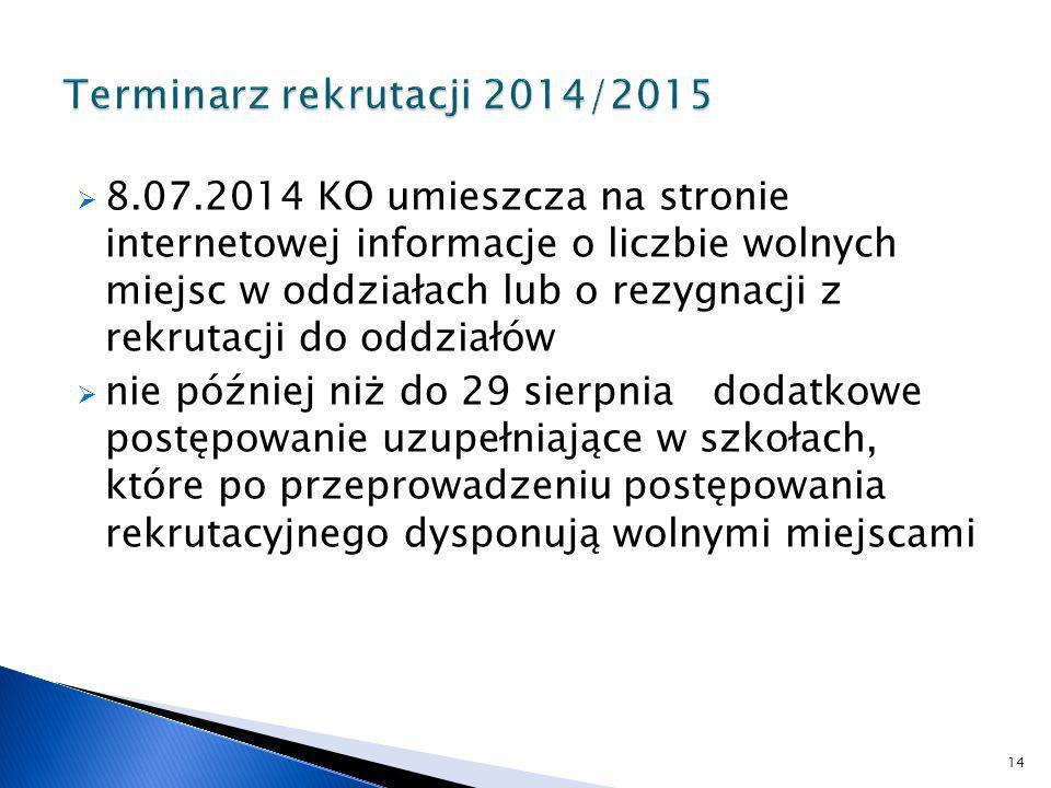 Terminarz rekrutacji 2014/2015