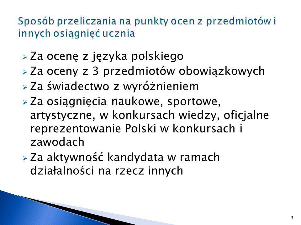Za ocenę z języka polskiego Za oceny z 3 przedmiotów obowiązkowych
