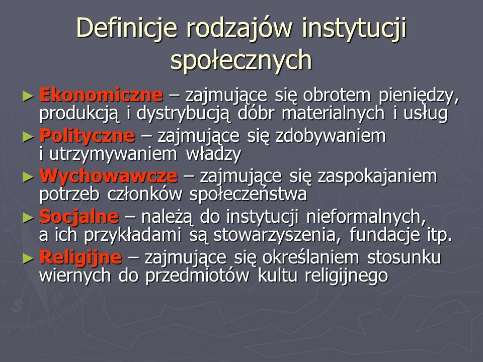Definicje rodzajów instytucji społecznych