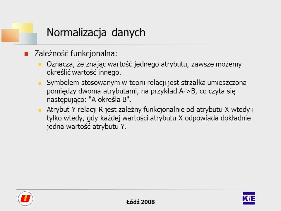 Normalizacja danych Zależność funkcjonalna: