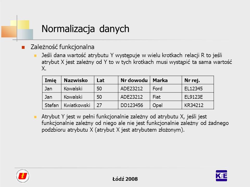 Normalizacja danych Zależność funkcjonalna