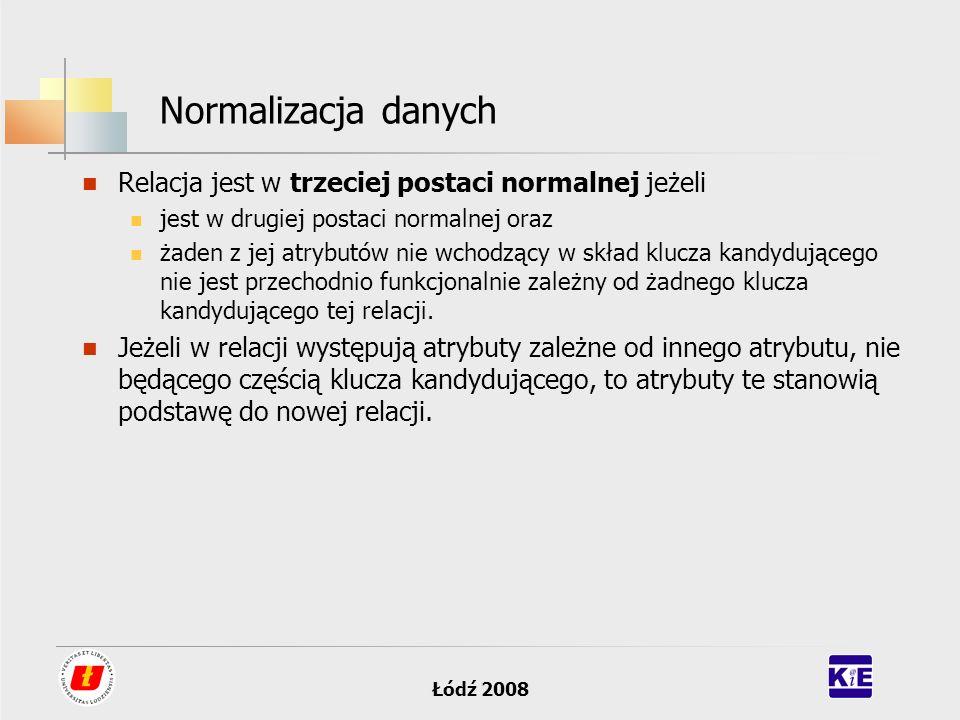 Normalizacja danych Relacja jest w trzeciej postaci normalnej jeżeli