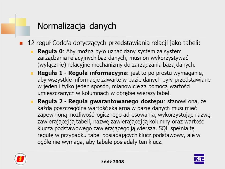Normalizacja danych 12 reguł Codd'a dotyczących przedstawiania relacji jako tabeli: