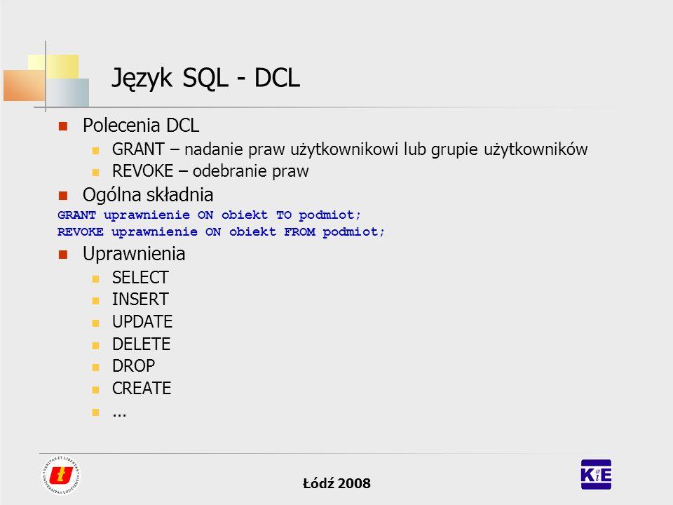 Język SQL - DCL Polecenia DCL Ogólna składnia Uprawnienia