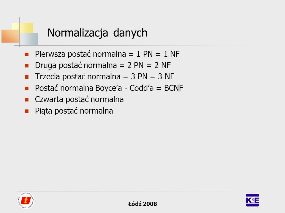 Normalizacja danych Pierwsza postać normalna = 1 PN = 1 NF