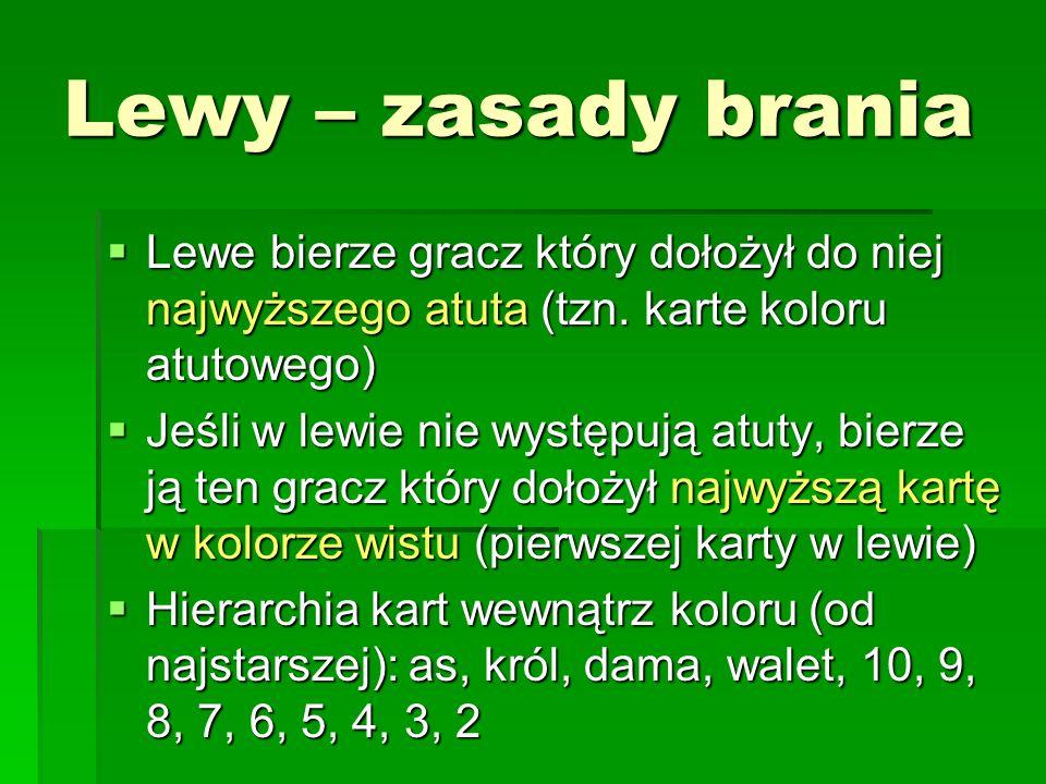 Lewy – zasady brania Lewe bierze gracz który dołożył do niej najwyższego atuta (tzn. karte koloru atutowego)