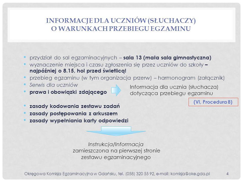 Informacje dla uczniów (słuchaczy) o warunkach przebiegu egzaminu
