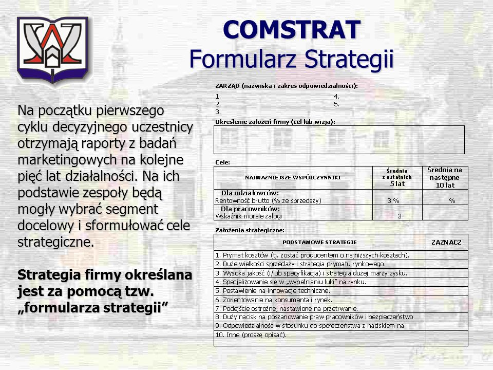COMSTRAT Formularz Strategii