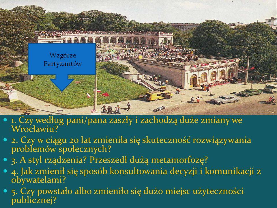 1. Czy według pani/pana zaszły i zachodzą duże zmiany we Wrocławiu