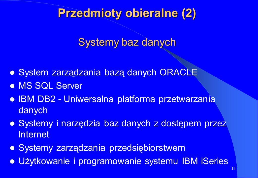 Przedmioty obieralne (2) Systemy baz danych