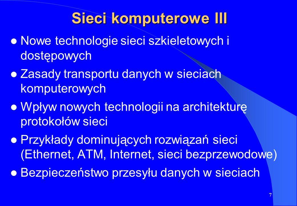 Sieci komputerowe III Nowe technologie sieci szkieletowych i dostępowych. Zasady transportu danych w sieciach komputerowych.