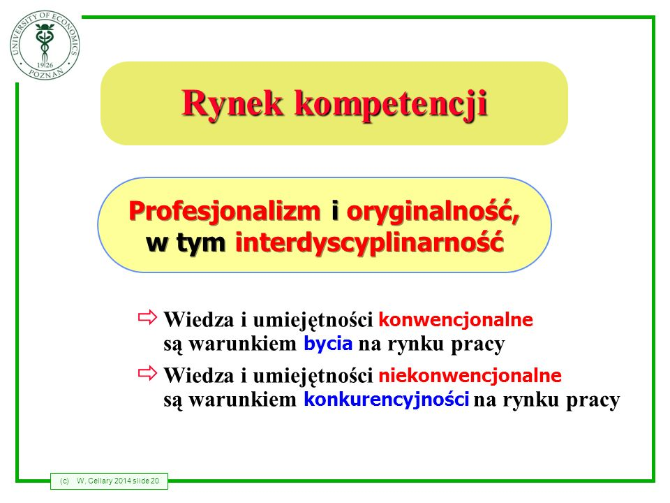 Profesjonalizm i oryginalność, w tym interdyscyplinarność